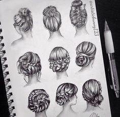 Find images and videos about hair, art and drawing on We Heart It - the app to get lost in what you love. Pencil Art Drawings, Art Drawings Sketches, Cute Drawings, Hair Sketch, Hair Reference, How To Draw Hair, Drawing Techniques, Hair Art, Drawing People