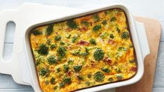This make-ahead egg bake is packed with a delicious trio of cheesy Cheddar, savory bacon and fresh broccoli florets.