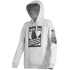 Adidas Street Graphic Hoodie Mens AI6965 Grey Black Pullover Hoody Size 2XL