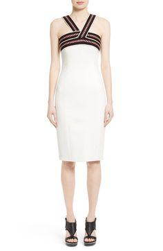 Main Image - Oscar de la Renta Woven Neck Sheath Dress