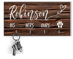 Personalized Key Holder and Dog Leash Wall Hanger Key Organizer for the Hallway Key Ring Holder Custom Key Holder For... Wall Key Holder, Paint Types, Handmade Signs, Key Organizer, Wall Hanger, Gifts For Family, Key Rings, House Warming, Best Gifts