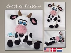 Cow, Amigurumi Crochet Pattern, Stuffed Animal, Tutorial, CP-145 by LovelyBabyGift on Etsy https://www.etsy.com/listing/241649212/cow-amigurumi-crochet-pattern-stuffed