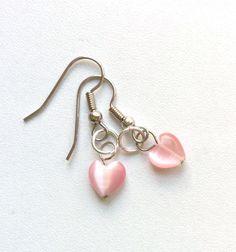 Pink glass heart earrings, Valentine's Day earrings by PokeysWorld on Etsy https://www.etsy.com/listing/217722535/pink-glass-heart-earrings-valentines-day