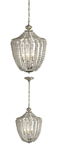We love the beachy vibe of the Brandon Chandelier. Boasting beaded strands of white-washed wood that create a striking profile, the chandelier lends casual refinement to your dining space. Boasting a p...  Find the Brandon Chandelier, as seen in the Handwoven Bohemian Home Collection at http://dotandbo.com/collections/handwoven-bohemian-home?utm_source=pinterest&utm_medium=organic&db_sku=125209