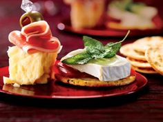Aged Cheddar with proscuitto & Green olive, Brie with roasted red pepper & basil