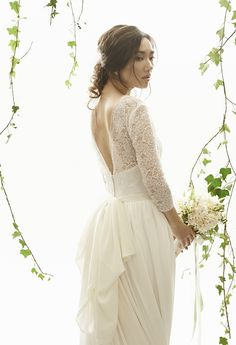 Wedding Hairstyles Inspiration : Catherine wedding dress from Vania Romoff Bridal wedding dresses 2015 – beautfiul wedding dress with lace sleeves and pretty back detail – see the rest … 2015 Wedding Dresses, Wedding Gowns, Wedding Bells, Wedding Events, Bridal Cape, Bridal Gowns, Vania Romoff Bridal, Boho Gown, Wedding Hair Inspiration