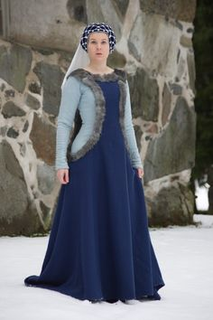 14th century wool cotehardie and sideless surcote with fur trim