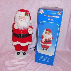 CHRISTMAS SANTA CLAUS Jolly Old St Nick Motion Animated Mechanical Plush Figurine Plug In 24 inch 2 Feet Tall Unused Mint Box Moving Doll