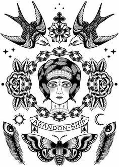 All About Art Tattoo Studio Rangiora. Tattoo Sketches, Tattoo Drawings, Future Tattoos, Tattoos For Guys, Neotraditional Tattoo, Tatto Old, Traditional Tattoo Art, Pieces Tattoo, Stomach Tattoos