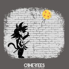 """Saiyan with a balloon"" by ddjvigo Shirt on sale until 01 June on http://othertees.com Pin it for a chance at a FREE TEE! #songoku #dragonballz #banksy"