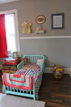 Newlyweds in New Jersey: Shared Nursery for my Babies {Londyn Grace & Liam's Room} -shared toddler girl and baby boy nursery, vintage, toys, colorful, toddler bed, mint, patchwork quilt
