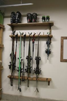 Outdoor gear storage SKI RACK More Unhealthy Air in Schools: Building Materials Play a Role Many chi Overhead Garage Storage, Bike Storage, Storage Rack, Ski Rack, Ski Decor, Ideas Geniales, Garage Organization, Organization Ideas, Storage Ideas