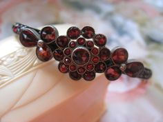 Antique Bohemian Garnet Hinged Bangle Bracelet
