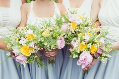 Bouquets Flowers Bridesmaid Peony Daisy Super Pretty Candy Coloured Country Marquee Wedding http://www.carlybevan.co.uk/