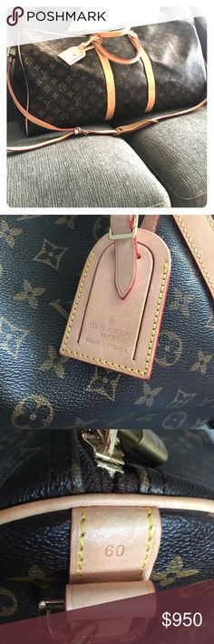 Authentic Louis Vuitton Keepall 60 Travel bag About a year old, only used about 4 times. Comes with removable shoulder strap and ID holder. Minor scuffing on bottom, other than that it is in great shape. Louis Vuitton Bags Travel Bags