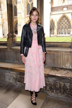 alexa chung + pink dress + leather jacket