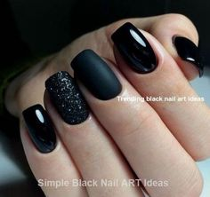 Trendy Matte Black Nails Designs Inspirations For Ladies How to use nail polish? Nail polish in your friend's nails looks perfect, nevertheless, you ca Black Acrylic Nails, Matte Black Nails, Black Nail Art, Black Nails Short, Black Sparkle Nails, Black Art, Matte Gel Nails, Black Manicure, Black Coffin Nails