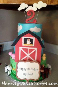 Barnyard Theme 2nd Birthday Cake, Farm Cake