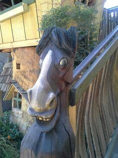 Carved wood horse rails Fresno Fair, Garden Sculpture, Lion Sculpture, Carved Wood, Carving, Horses, Statue, Outdoor Decor, Home Decor