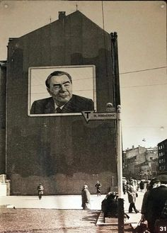 Brezhnev looks over and after everyone. Riga, Soviet Union, Wwii, Wall Murals, Revolution, October, Retro, People, Cold War