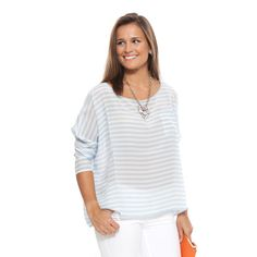 Baby Blue and White stripe silk pocket blouse