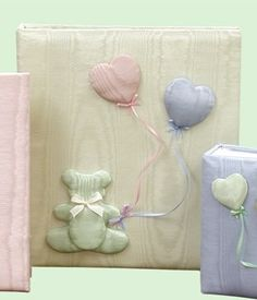 Bear With Balloons Moire Baby Memory Book