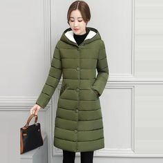 2018 Winter Jacket women Plus Size Womens Parkas Thicken Outerwear Warm Hooded Winter Coat Female Slim Cotton padded basic tops Long Jackets For Women, Winter Jackets Women, Coats For Women, Clothes For Women, Hooded Winter Coat, Womens Parka, Sweatshirt Outfit, Running Shirts, Basic Tops