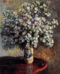❀ Blooming Brushwork ❀ - garden and still life flower paintings - Claude Monet - Asters (1880)