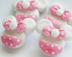 Polymer Clay Minnie Mouse Charms Pink & White Mouse Charms for Jewelry Crafts, Earrings, Braclets and More.