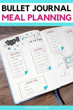 Bullet Journal Meal Planning 101 [The Beginner's Guide] - AnjaHome Weekly Meal Planner, Planner Tips, Planner Pages, Life Planner, Diary Planner, Bullet Journal Monthly Spread, Bullet Journal Layout, Bullet Journal Inspiration, Bullet Journals