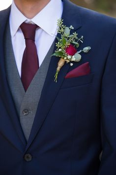 Wedding Suits Navy Blue and Burgundy Wedding, winter weddings ideas, wedding groom botonniere, wdding decorations, wedding accessories - Groom Style, Marie, Navy Blue Suits Wedding, Wedding Flowers, Blue Tux Wedding, Fall Wedding Tuxedos, Dream Wedding, Mens Wedding Attire Summer, Mens Wedding Tux
