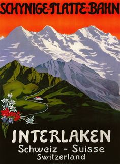 1930's Interlaken Swiss travel poster