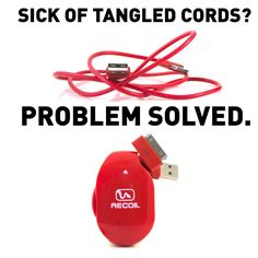 Tangled Cords Are The Problem... Recoil Winders Are The Solution! Recoil Cord Winders INSTANTLY and AUTOMATICALLY winds, stores and organizes most types of headphones, phone, tablet and gaming chargers, USB cables, camera connectors and sync cables and many other types of cords up to 6 feet long. Designed and based in Park City, Utah. Cord Organization, Park City, Cords, Tangled, Inventions, Utah, Computers, Gadgets, Headphones