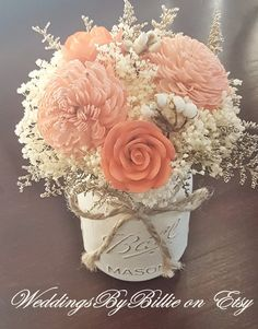 Beautiful Wedding Reception Decoration Ideas - Put the Ring on It Coral Centerpieces, Coral Wedding Decorations, Wedding Table Centerpieces, Centerpiece Flowers, Flowers Decoration, Centerpiece Ideas, Aisle Flowers, Sola Wood Flowers, Wedding Flowers