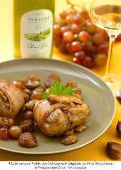 Râbles de Lapin Poêlés aux Châtaignes et Déglacés au Pinot Gris d'Alsace.