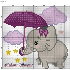 This Pin was discovered by Dan Baby Cross Stitch Patterns, Cute Cross Stitch, Cross Stitch Charts, Cross Stitch Designs, Broderie Simple, Diy Broderie, Pixel Crochet Blanket, Crochet Blanket Edging, Elephant Cross Stitch