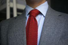 Thom Sweeney grey Flannel suit + Coral grenadine tie