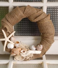 12 Burlap Sea Shell Wreath by TheSalvagedHome on Etsy
