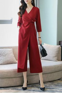 Chicloth Elegant Wrap Solid Work Sleeve Jumpsuit A Batik Fashion, Abaya Fashion, Fashion Dresses, Simple Dresses, Casual Dresses, Casual Outfits, Beautiful Dresses, Jumpsuit Pattern, Jumpsuit With Sleeves