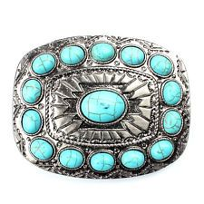 Turquoise belt buckle western buckles for ladies …: It is a nice gift for cowboy cowgirl Skull Belt Buckle, Western Belt Buckles, Western Belts, Western Wear, Turquoise Accessories, Concho Belt, Silver Belts, Branded Belts, Fashion Belts