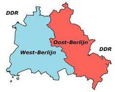 De splitsing van Duitsland, west Berlijn oost Berlijn de ene kant communistisch andere kant kapitalisme.