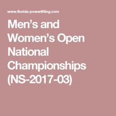 Men's and Women's Open National Championships (NS-2017-03)