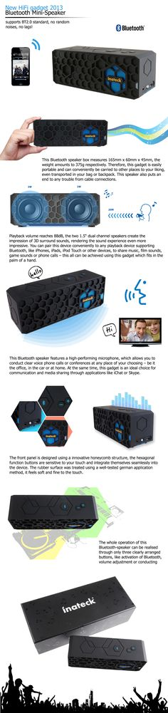 #Inateck #Wireless #Bluetooth #Speaker Outdoor Portable #HiFi Speaker Mini Stereo Speaker #Rechargeable for #iPhone 5S 4S/ iPad / Android #Smartphones / Samsung Galaxy S4 S3 / #Laptops / Mobiles / Mp3 player devices, Up to 10 Hours of Play Time