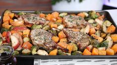 Maple Glazed Pork Chops with Apples, Butternut Squash & Brussels Sprouts - one sheet pan meal - The Social