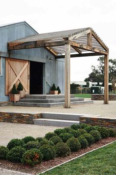 Pergola above barn entrance - best modern farmhouse exterior design ideas by bertha Metal Building Homes, Building A House, Building Ideas, Building Plans, Metal Building Kits, Building Systems, Modern Farmhouse Exterior, Farmhouse Style, Coastal Farmhouse
