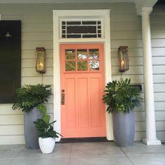 Coral Front Doors, Coral Door, Front Door Paint Colors, Painted Front Doors, Best Front Door Colors, House Shutter Colors, Light Green House, Sage Green House, Outdoor Wall Lantern