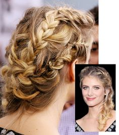 Melanie Laurent's French braid at the New York premiere of Now You See Me is actually four French braids woven into one at the back of her head. Tuck the ends underneath for a loose, out-of-the-way up-do.