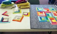 Improv log cabin piecing with solids - by Faith of Fresh Lemon Quilts