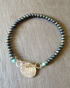 Silver Labyrinth with Black Pearl and Turquoise Bracelet, Hannah Willow