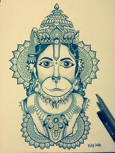 Lord Hanuman tattoo design / illustration by Klee Jane Art Ganesha Drawing, Mandala Drawing, Mandala Art, Ganesha Art, Mandala Painting, Lord Ganesha, Hanuman Tattoo, Hanuman Chalisa, Hanuman Hd Wallpaper